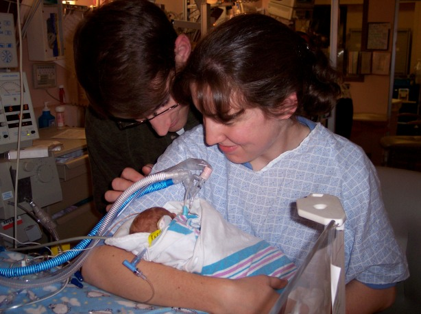 Holding him for the first time, December 29, 2003.