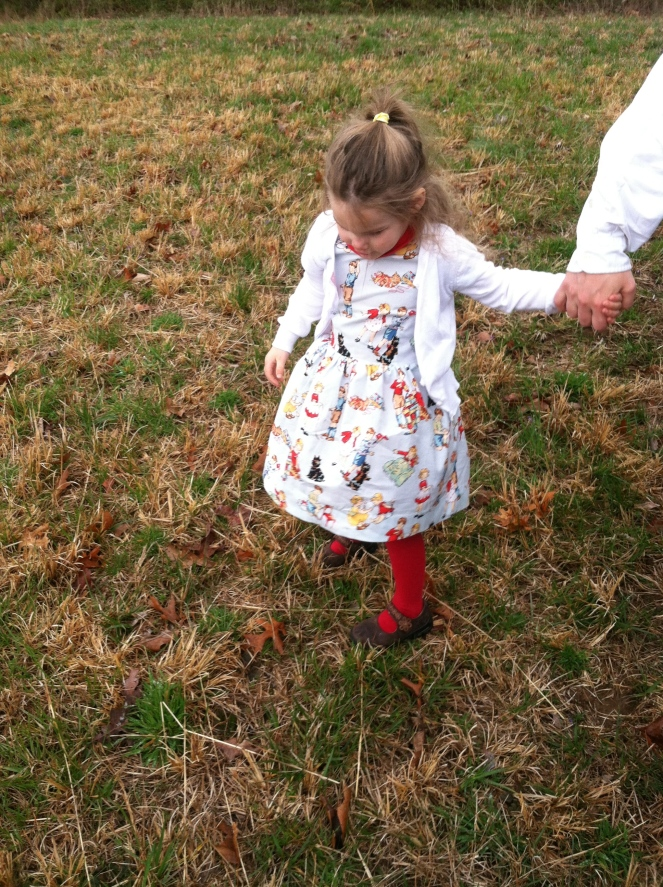 Sunshine looks darling in a Dick-and-Jane dress. Cardigan by Target. Mud-Puddle Proof Shoes are a must with this one.