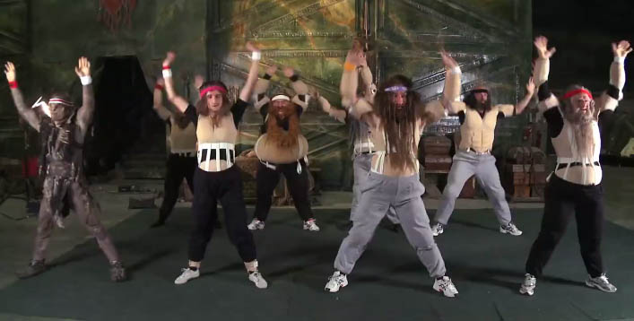 Dwarves in fat suits doing an exercise video for the latest in Peter Jackson's movie vlog..which I haven't sat down to watch yet! I'm dropping the ball here.