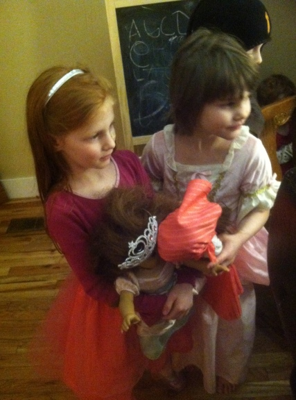 Sisters and their dolls....