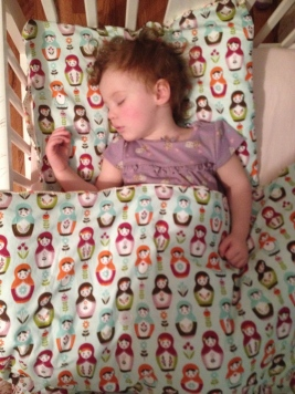 I made her the pillowcase and duvet cover. Now all the girls want a custom one! :)